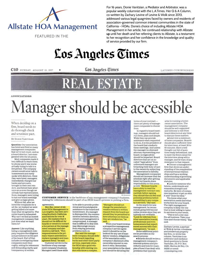 Allstate in LA Times